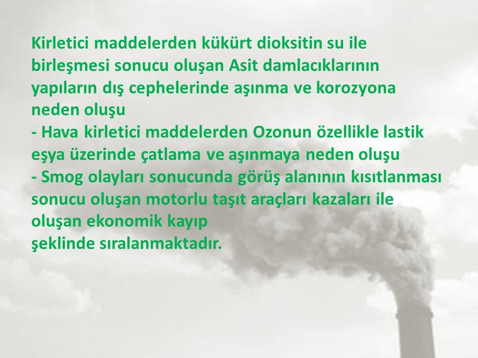 Kirletici maddelerden kükürt dioksitin su ile birleşmesi sonucu oluşan Asit damlacıklarının yapıların dış cephelerinde aşınma ve korozyona neden oluşu