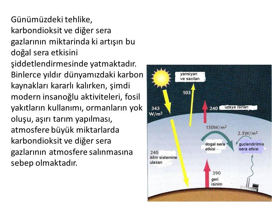 Günümüzdeki tehlike, karbondioksit ve diğer sera gazlarının miktarinda ki artışın bu doğal sera etkisini şiddetlendirmesinde yatmaktadır. Binlerce yıl