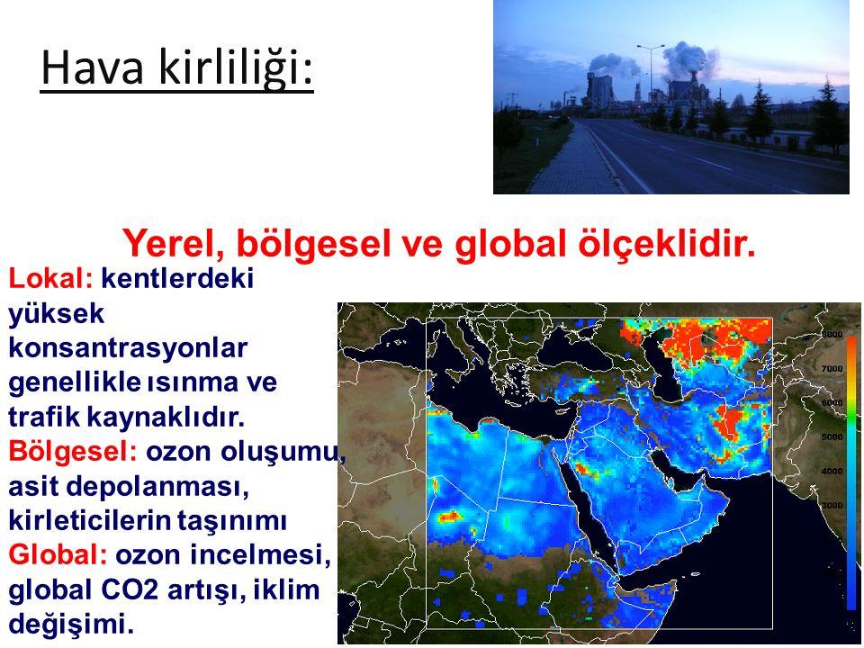 Hava kirliliği: Yerel, bölgesel ve global ölçeklidir. Lokal: kentlerdeki yüksek konsantrasyonlar genellikle ısınma ve trafik kaynaklıdır. Bölgesel: oz