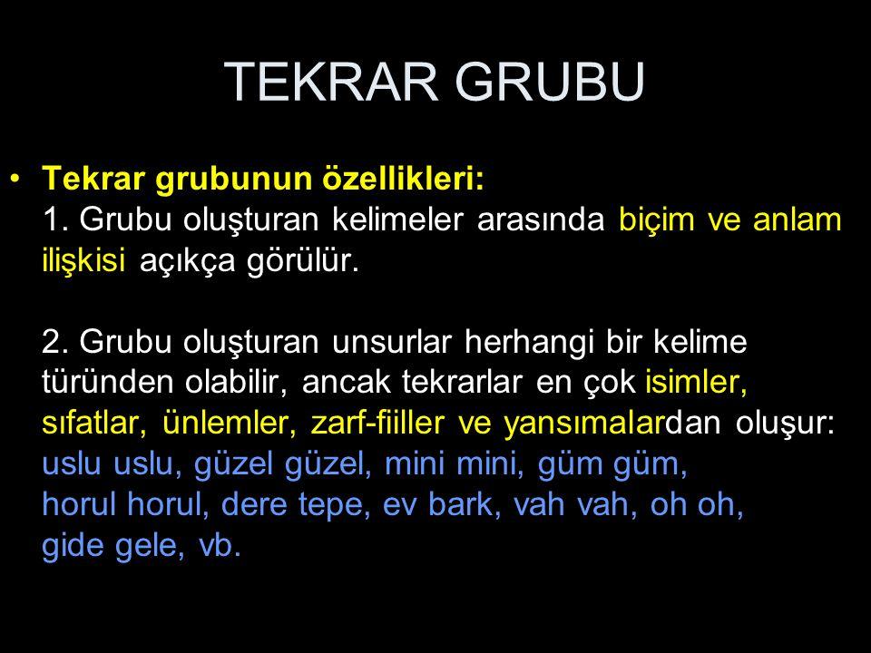 TEKRAR GRUBU Tekrar grubunun özellikleri: 1. Grubu oluşturan kelimeler arasında biçim ve anlam ilişkisi açıkça görülür. 2. Grubu oluşturan unsurlar he