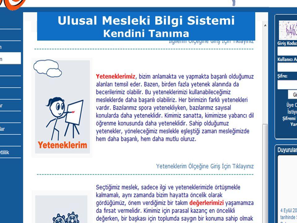 Ulusal Mesleki Bilgi Sistemi Kendini Tanıma