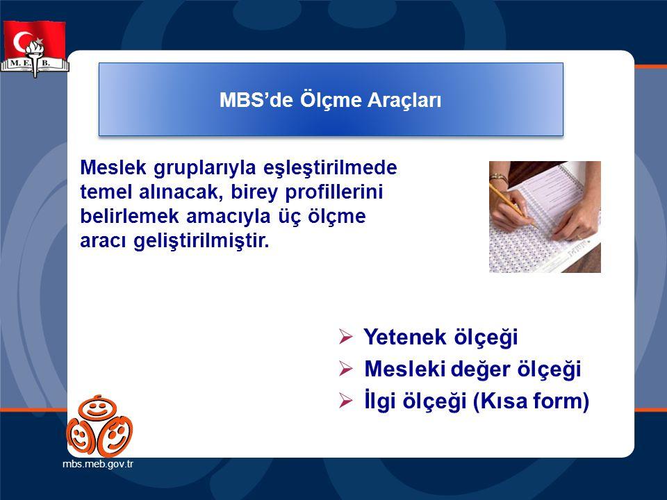 MBS'de Ölçme Araçları mbs.meb.gov.tr Meslek gruplarıyla eşleştirilmede temel alınacak, birey profillerini belirlemek amacıyla üç ölçme aracı geliştirilmiştir.