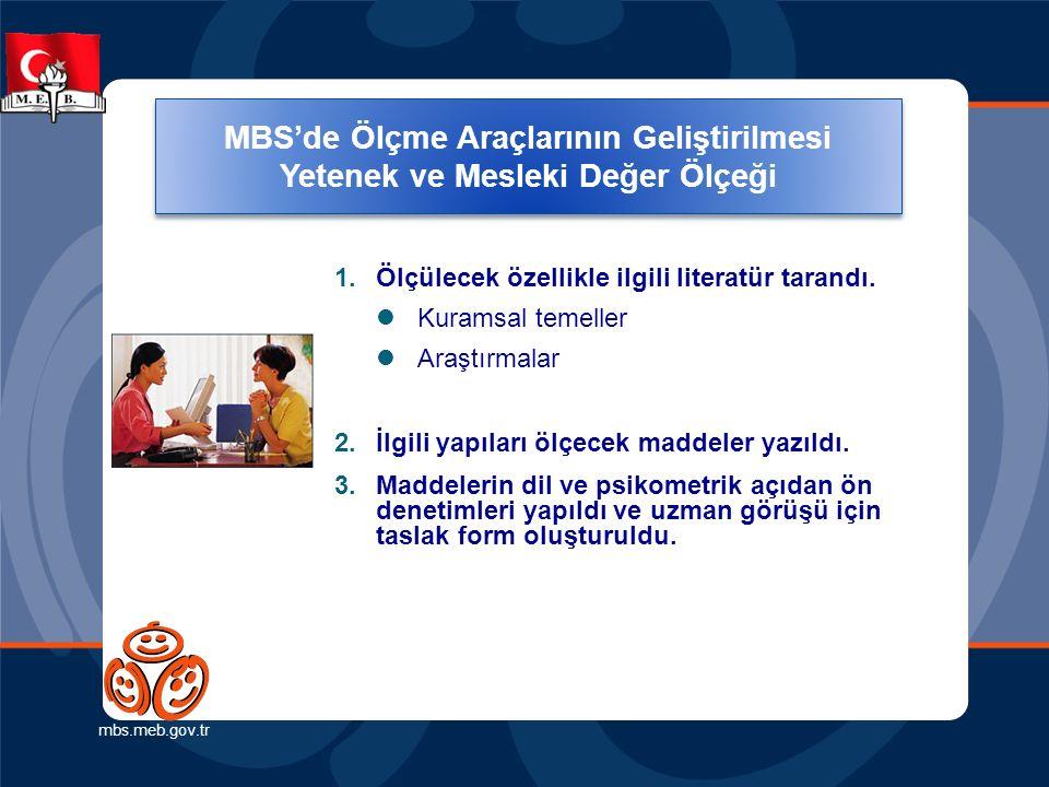 Ölçme Araçlarının Geliştirilmesi (Yetenek ve Mesleki Değer Ölçeği) mbs.meb.gov.tr 1.Ölçülecek özellikle ilgili literatür tarandı. Kuramsal temeller Ar