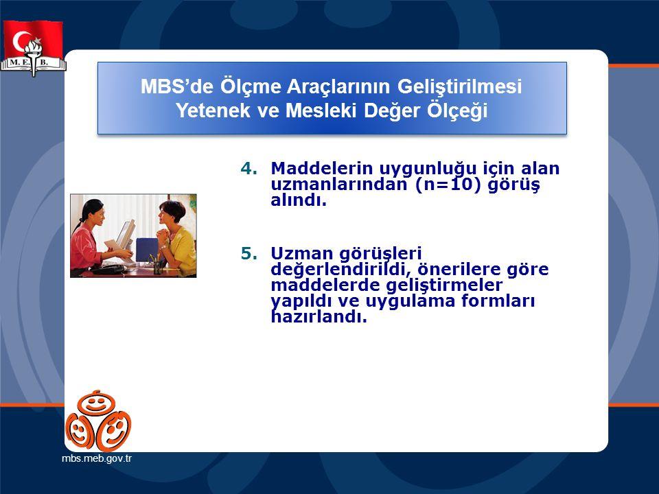 Ölçme Araçlarının Geliştirilmesi (Yetenek ve Mesleki Değer Ölçeği) mbs.meb.gov.tr 4.Maddelerin uygunluğu için alan uzmanlarından (n=10) görüş alındı.
