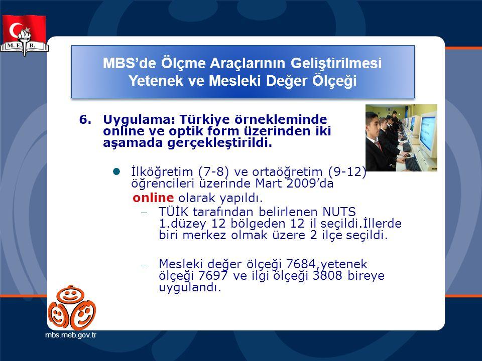 Ölçme Araçlarının Geliştirilmesi (Yetenek ve Mesleki Değer Ölçeği) mbs.meb.gov.tr 6. Uygulama: Türkiye örnekleminde online ve optik form üzerinden iki