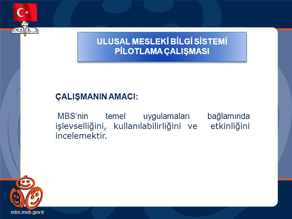mbs.meb.gov.tr ULUSAL MESLEKİ BİLGİ SİSTEMİ PİLOTLAMA ÇALIŞMASI ÇALIŞMANIN AMACI: MBS'nin temel uygulamaları bağlamında işlevselliğini, kullanılabilirliğini ve etkinliğini incelemektir.