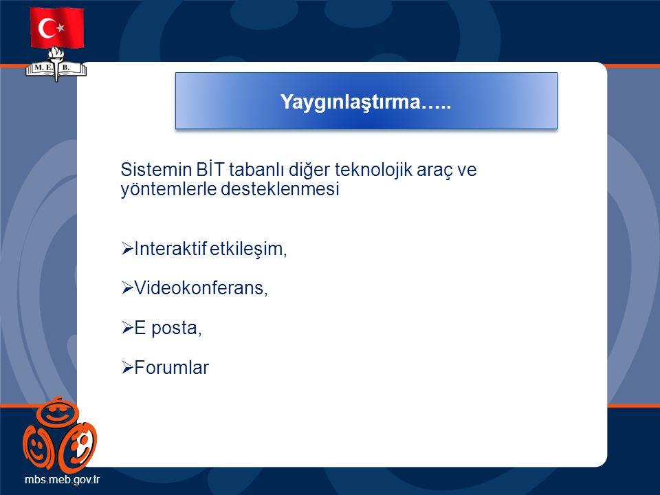 mbs.meb.gov.tr Yaygınlaştırma….. Sistemin BİT tabanlı diğer teknolojik araç ve yöntemlerle desteklenmesi  Interaktif etkileşim,  Videokonferans,  E