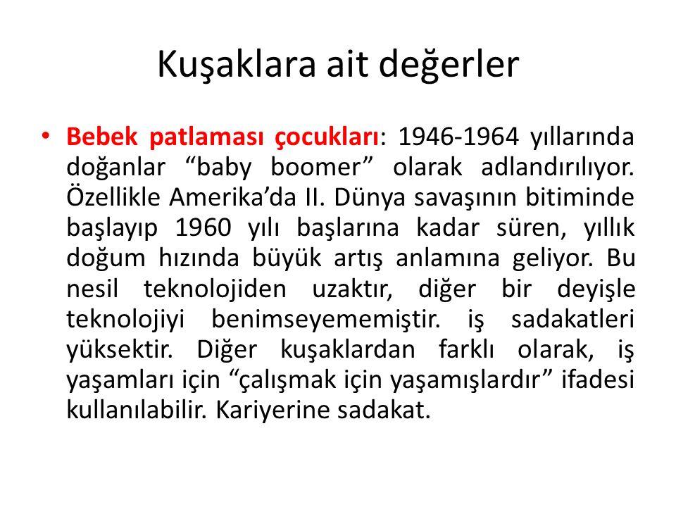 Kuşaklara ait değerler Bebek patlaması çocukları: 1946-1964 yıllarında doğanlar baby boomer olarak adlandırılıyor.