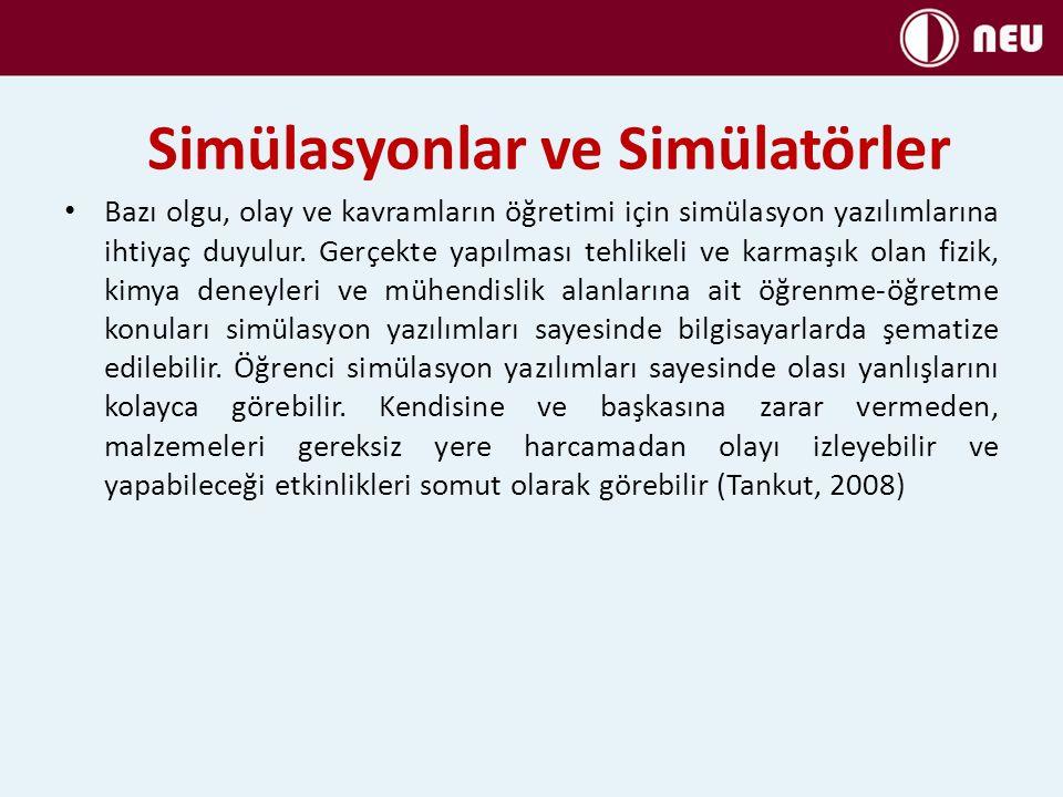 Simülasyonlar ve Simülatörler Bazı olgu, olay ve kavramların öğretimi için simülasyon yazılımlarına ihtiyaç duyulur. Gerçekte yapılması tehlikeli ve k