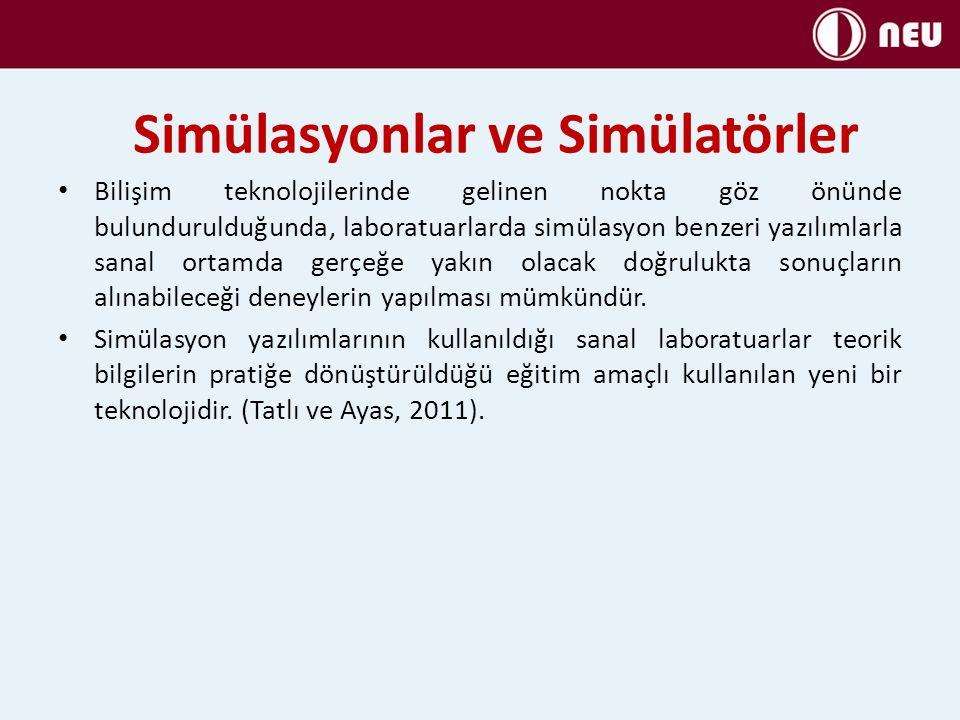 Simülasyonlar ve Simülatörler Simülasyon yazılımları sayesinde öğrenciler deneyi bireysel olarak gerçekleştirebilmektedirler.