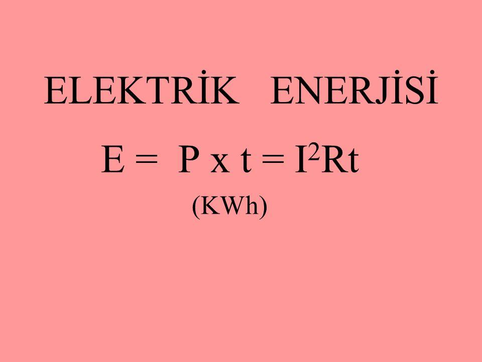 ELEKTRİK ENERJİSİ E = P x t = I 2 Rt (KWh)