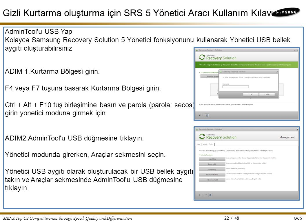 GCS MENA Top CS Competitiveness through Speed, Quality and Differentiation 22 / 48 AdminTool'u USB Yap Kolayca Samsung Recovery Solution 5 Yönetici fo