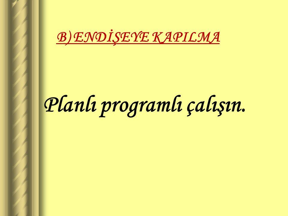 B) ENDİŞEYE KAPILMA Planlı programlı çalışın.