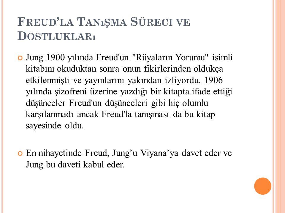 F REUD ' LA T ANıŞMA S ÜRECI VE D OSTLUKLARı Jung 1900 yılında Freud'un