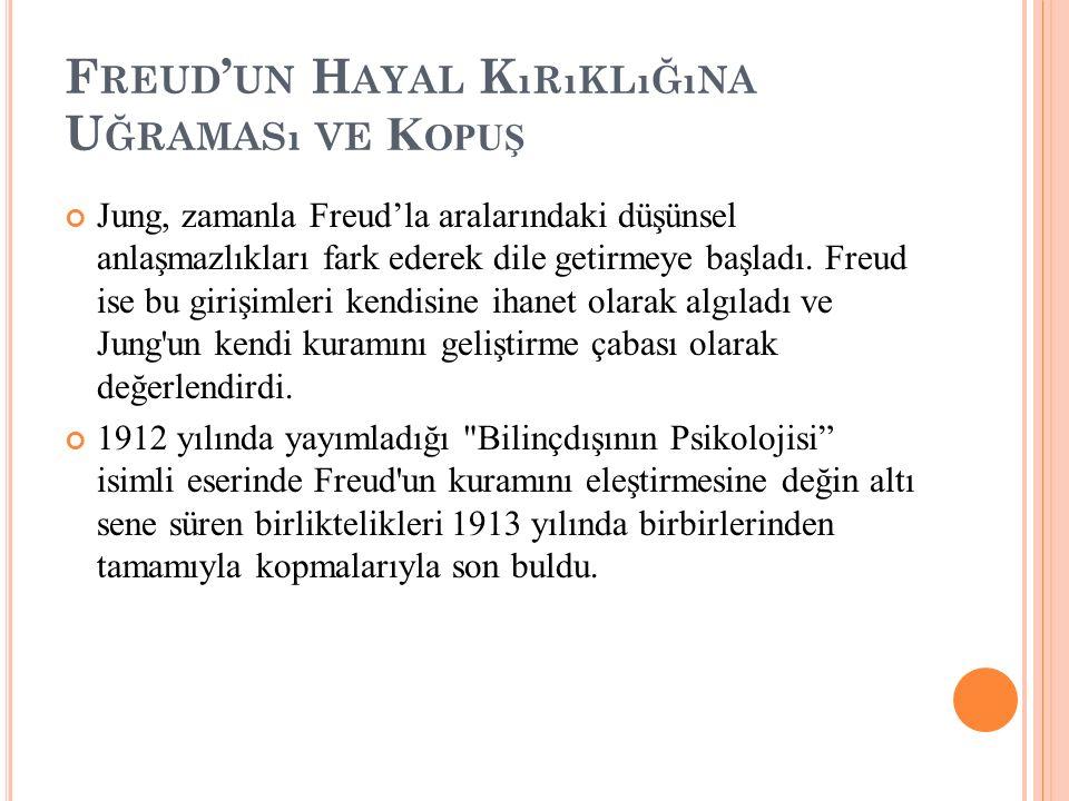 F REUD ' UN H AYAL K ıRıKLıĞıNA U ĞRAMASı VE K OPUŞ Jung, zamanla Freud'la aralarındaki düşünsel anlaşmazlıkları fark ederek dile getirmeye başladı. F