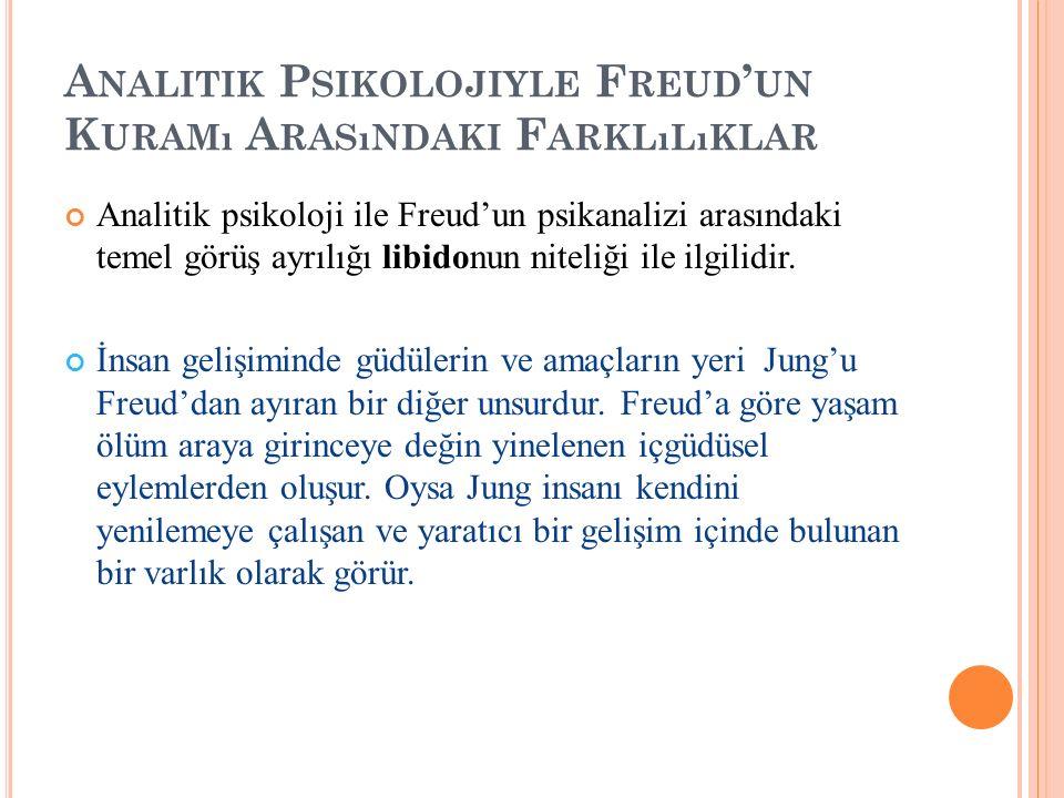 A NALITIK P SIKOLOJIYLE F REUD ' UN K URAMı A RASıNDAKI F ARKLıLıKLAR Analitik psikoloji ile Freud'un psikanalizi arasındaki temel görüş ayrılığı libi