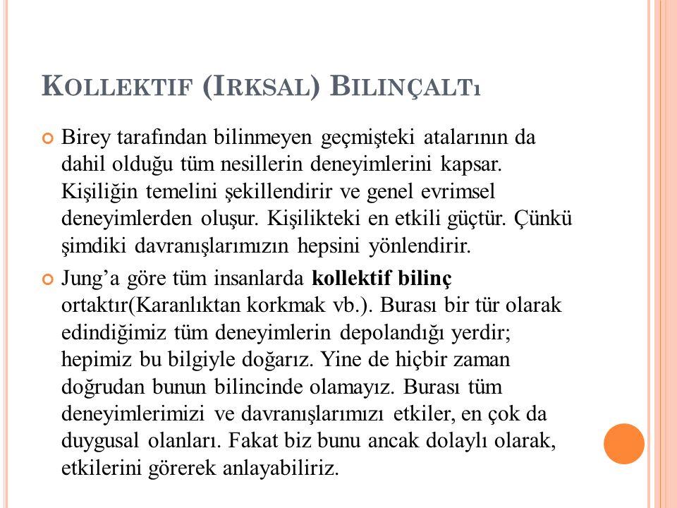 K OLLEKTIF (I RKSAL ) B ILINÇALTı Birey tarafından bilinmeyen geçmişteki atalarının da dahil olduğu tüm nesillerin deneyimlerini kapsar. Kişiliğin tem