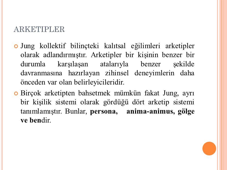 ARKETIPLER Jung kollektif bilinçteki kalıtsal eğilimleri arketipler olarak adlandırmıştır. Arketipler bir kişinin benzer bir durumla karşılaşan atalar