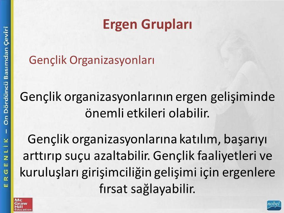 Ergen Grupları Gençlik Organizasyonları Gençlik organizasyonlarının ergen gelişiminde önemli etkileri olabilir.