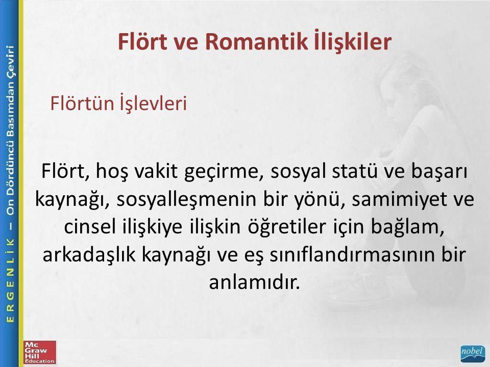 Flört ve Romantik İlişkiler Flörtün İşlevleri Flört, hoş vakit geçirme, sosyal statü ve başarı kaynağı, sosyalleşmenin bir yönü, samimiyet ve cinsel ilişkiye ilişkin öğretiler için bağlam, arkadaşlık kaynağı ve eş sınıflandırmasının bir anlamıdır.