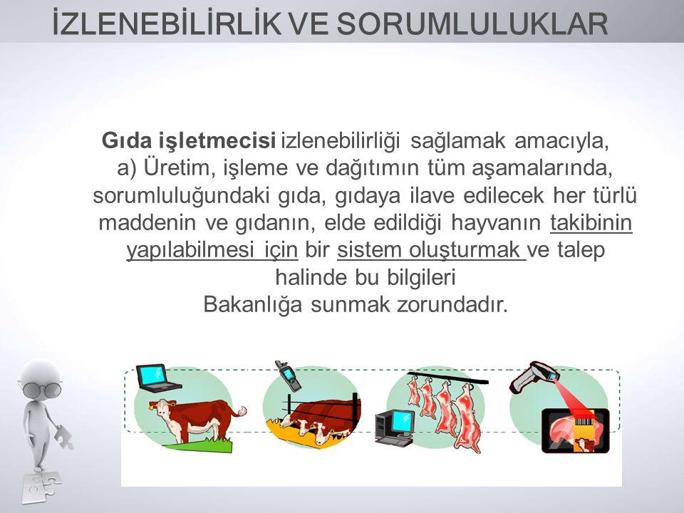 Gıda işletmecisi izlenebilirliği sağlamak amacıyla, a) Üretim, işleme ve dağıtımın tüm aşamalarında, sorumluluğundaki gıda, gıdaya ilave edilecek her