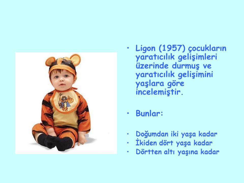 Ligon (1957) çocukların yaratıcılık gelişimleri üzerinde durmuş ve yaratıcılık gelişimini yaşlara göre incelemiştir.