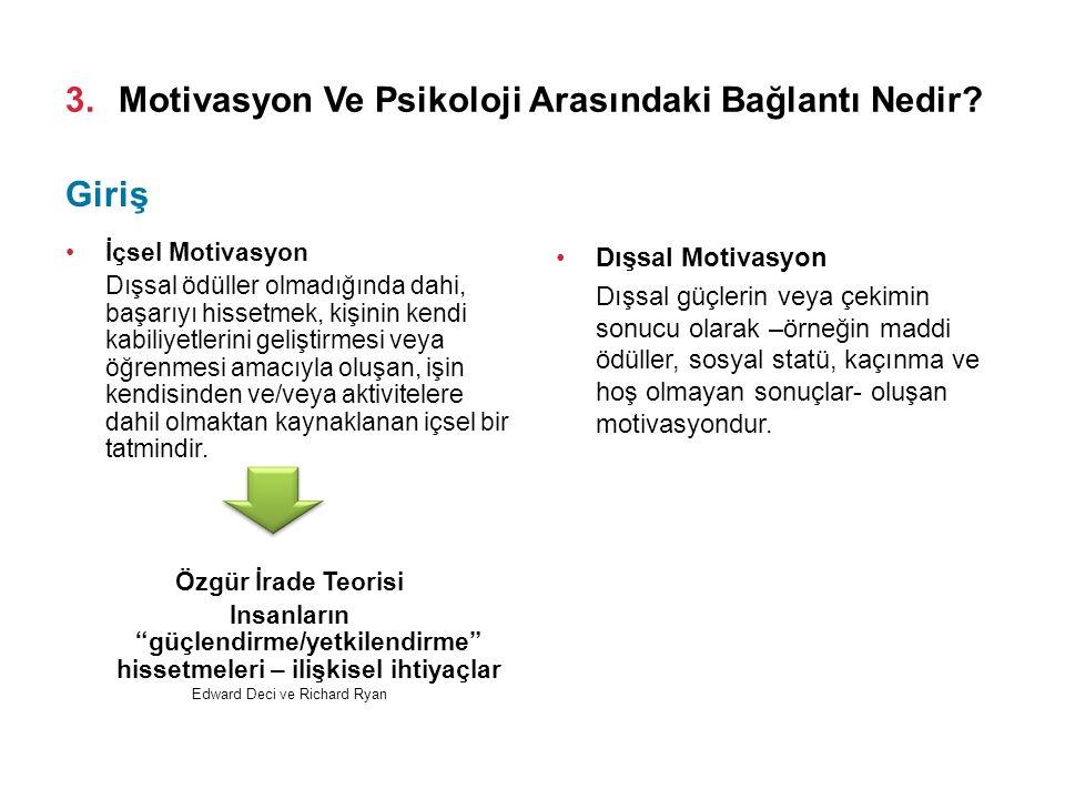 3.Motivasyon Ve Psikoloji Arasındaki Bağlantı Nedir? İçsel Motivasyon Dışsal ödüller olmadığında dahi, başarıyı hissetmek, kişinin kendi kabiliyetleri