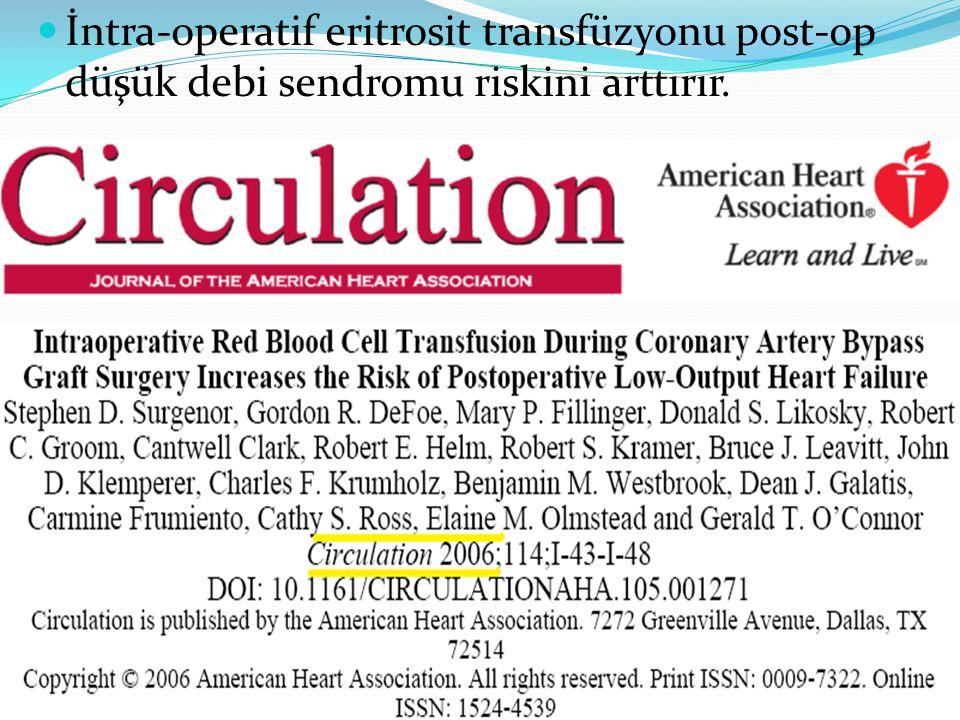 İntra-operatif eritrosit transfüzyonu post-op düşük debi sendromu riskini arttırır.