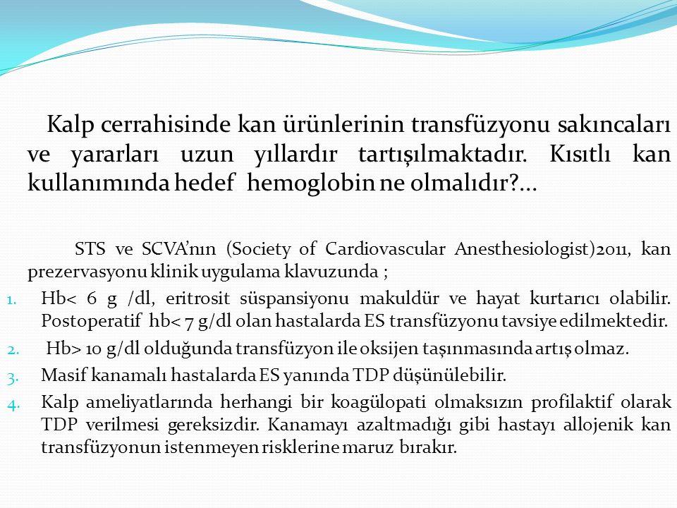 Kalp cerrahisinde kan ürünlerinin transfüzyonu sakıncaları ve yararları uzun yıllardır tartışılmaktadır. Kısıtlı kan kullanımında hedef hemoglobin ne