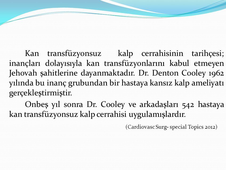 Kan transfüzyonsuz kalp cerrahisinin tarihçesi; inançları dolayısıyla kan transfüzyonlarını kabul etmeyen Jehovah şahitlerine dayanmaktadır. Dr. Dento
