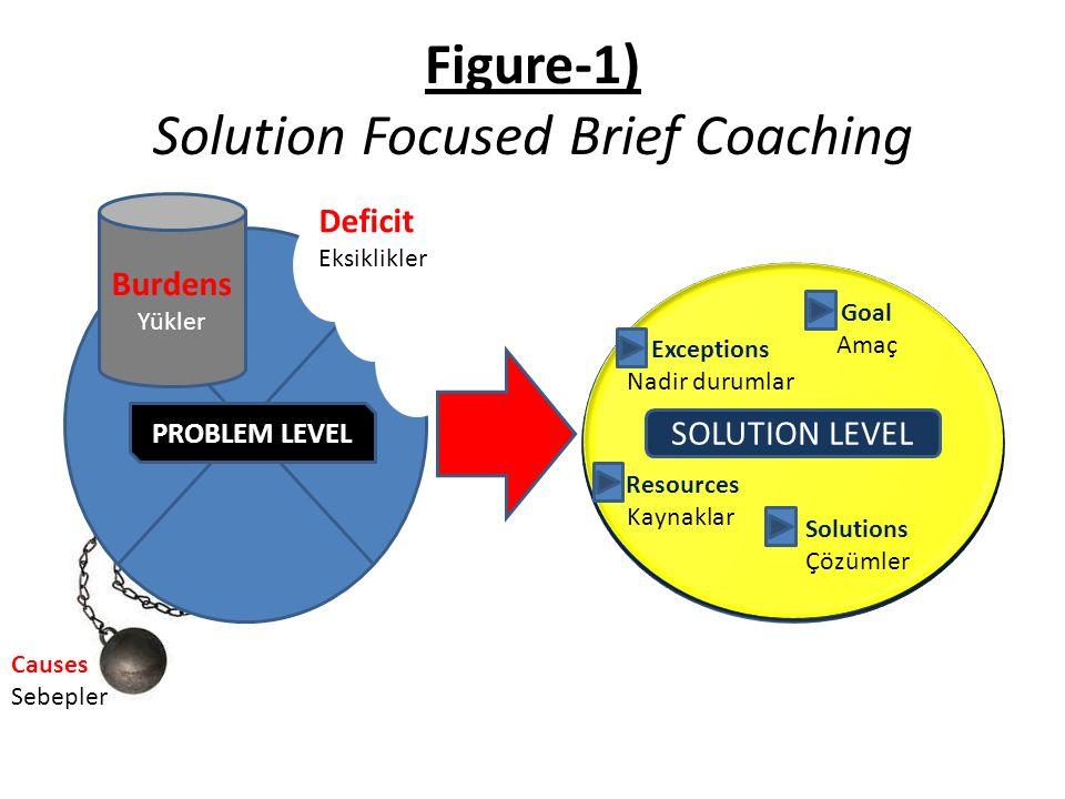 Figure-1) Solution Focused Brief Coaching Causes Sebepler PROBLEM LEVEL Burdens Yükler Deficit Eksiklikler SOLUTION LEVEL Exceptions Nadir durumlar Goal Amaç Resources Kaynaklar Solutions Çözümler