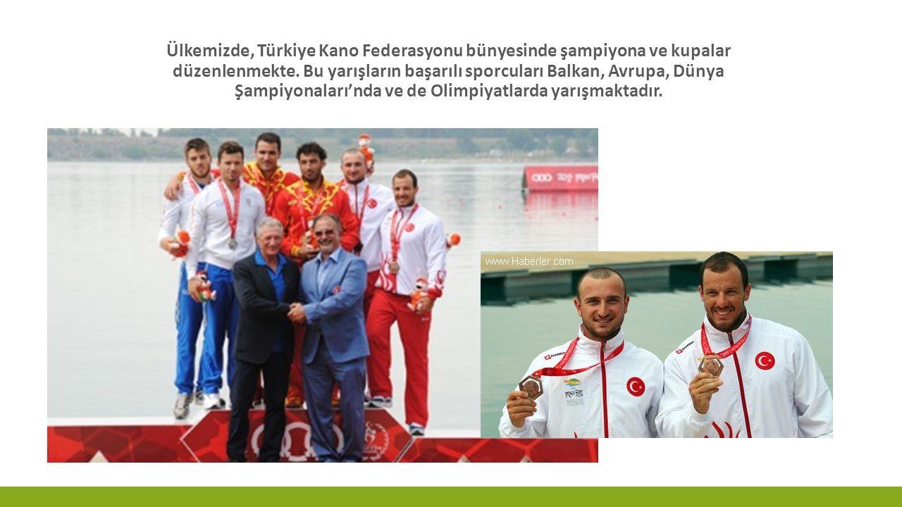 Ülkemizde, Türkiye Kano Federasyonu bünyesinde şampiyona ve kupalar düzenlenmekte. Bu yarışların başarılı sporcuları Balkan, Avrupa, Dünya Şampiyonala