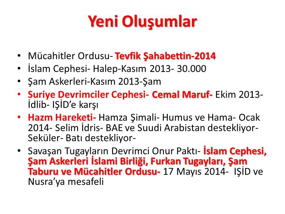 Yeni Oluşumlar Tevfik Şahabettin-2014 Mücahitler Ordusu- Tevfik Şahabettin-2014 İslam Cephesi- Halep-Kasım 2013- 30.000 Şam Askerleri-Kasım 2013-Şam C