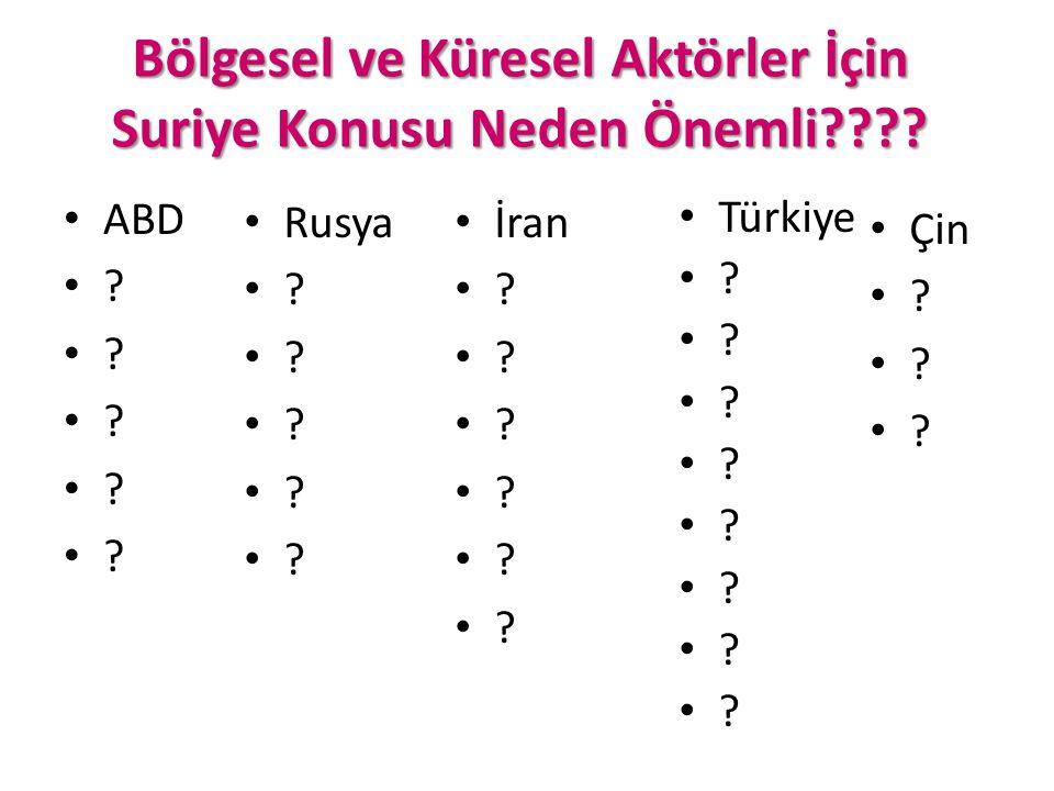 Bölgesel ve Küresel Aktörler İçin Suriye Konusu Neden Önemli???? ABD ? Rusya ? İran ? Türkiye ? Çin ?