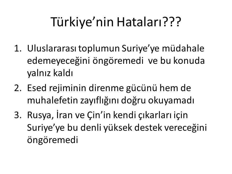 Türkiye'nin Hataları??? 1.Uluslararası toplumun Suriye'ye müdahale edemeyeceğini öngöremedi ve bu konuda yalnız kaldı 2.Esed rejiminin direnme gücünü