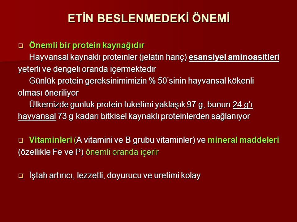 ETİN BESLENMEDEKİ ÖNEMİ  Önemli bir protein kaynağıdır Hayvansal kaynaklı proteinler (jelatin hariç) esansiyel aminoasitleri yeterli ve dengeli orand