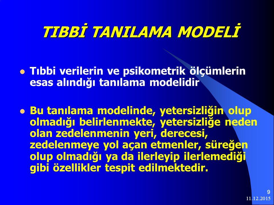 11.12.2015 9 TIBBİ TANILAMA MODELİ Tıbbi verilerin ve psikometrik ölçümlerin esas alındığı tanılama modelidir Bu tanılama modelinde, yetersizliğin olup olmadığı belirlenmekte, yetersizliğe neden olan zedelenmenin yeri, derecesi, zedelenmeye yol açan etmenler, süreğen olup olmadığı ya da ilerleyip ilerlemediği gibi özellikler tespit edilmektedir.