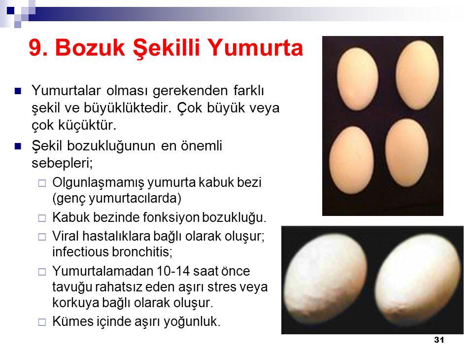 9.Bozuk Şekilli Yumurta Yumurtalar olması gerekenden farklı şekil ve büyüklüktedir.