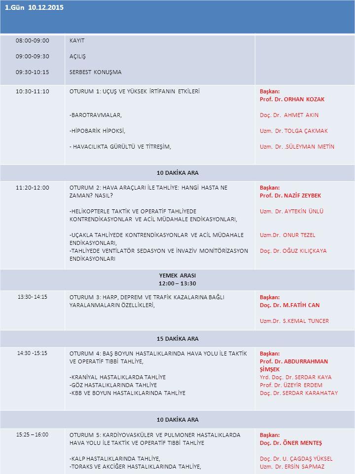 1.Gün 10.12.2015 08:00-09:00 09:00-09:30 09:30-10:15 KAYIT AÇILIŞ SERBEST KONUŞMA 10:30-11:10OTURUM 1: UÇUŞ VE YÜKSEK İRTİFANIN ETKİLERİ -BAROTRAVMALAR, -HİPOBARİK HİPOKSİ, - HAVACILIKTA GÜRÜLTÜ VE TİTREŞİM, Başkan: Prof.