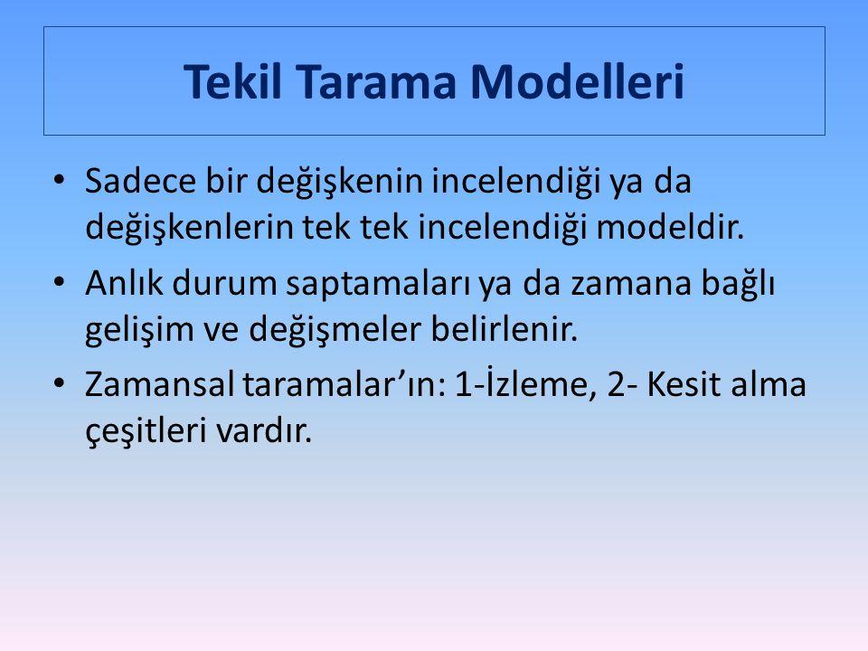 Tekil Tarama Modelleri Sadece bir değişkenin incelendiği ya da değişkenlerin tek tek incelendiği modeldir.