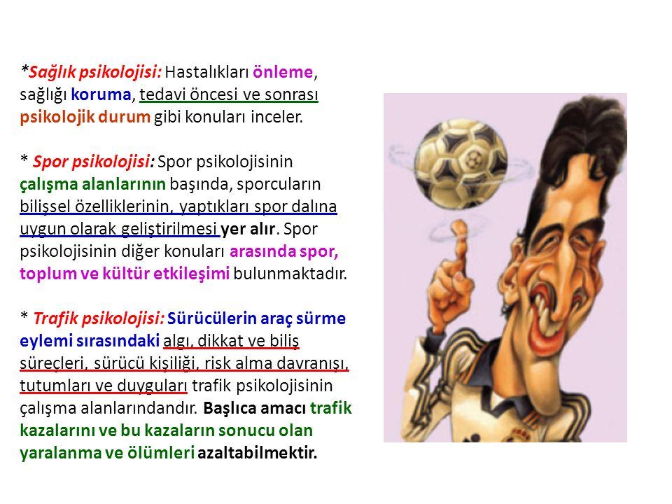 *Sağlık psikolojisi: Hastalıkları önleme, sağlığı koruma, tedavi öncesi ve sonrası psikolojik durum gibi konuları inceler. * Spor psikolojisi: Spor ps