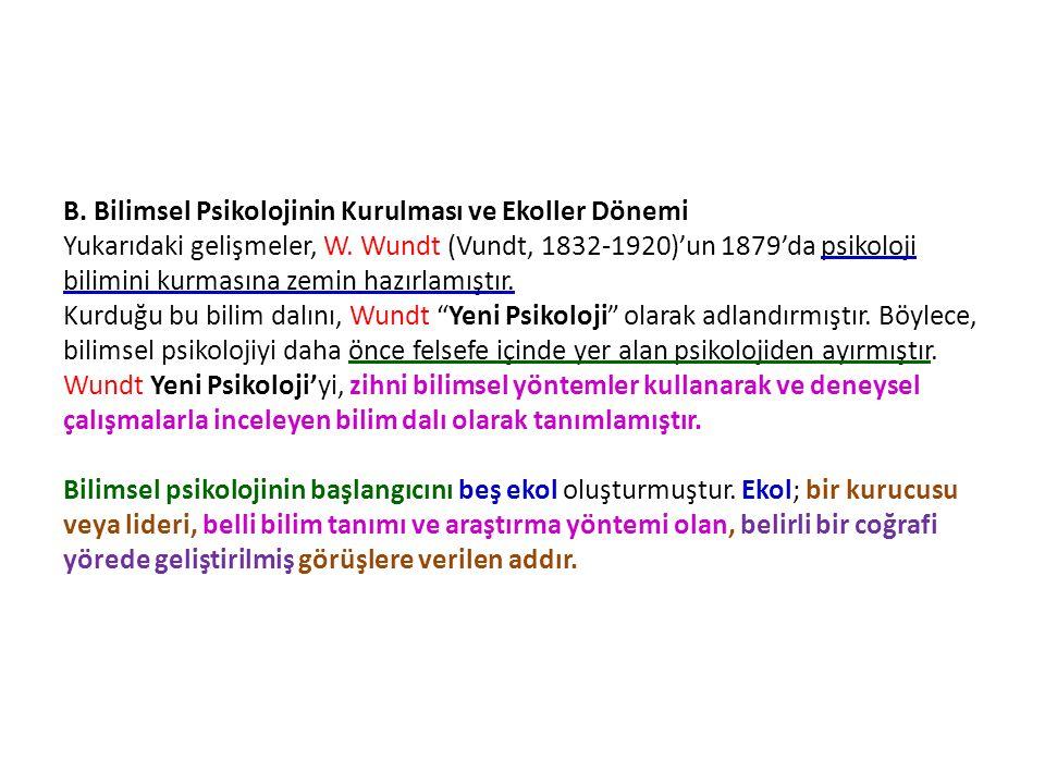 B. Bilimsel Psikolojinin Kurulması ve Ekoller Dönemi Yukarıdaki gelişmeler, W. Wundt (Vundt, 1832-1920)'un 1879'da psikoloji bilimini kurmasına zemin