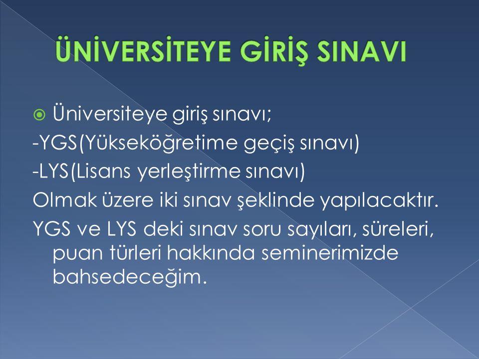  Üniversiteye giriş sınavı; -YGS(Yükseköğretime geçiş sınavı) -LYS(Lisans yerleştirme sınavı) Olmak üzere iki sınav şeklinde yapılacaktır.