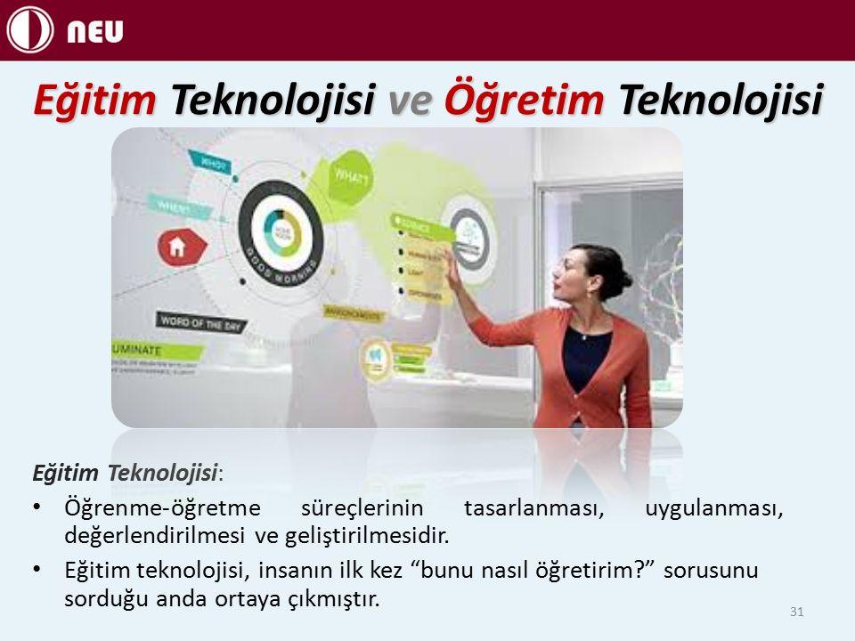 Eğitim Teknolojisi ve Öğretim Teknolojisi Eğitim Teknolojisi: Öğrenme-öğretme süreçlerinin tasarlanması, uygulanması, değerlendirilmesi ve geliştirilmesidir.