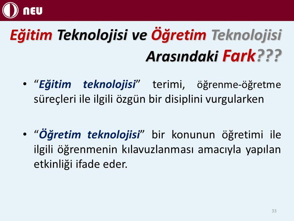 Eğitim Teknolojisi ve Öğretim Teknolojisi Arasındaki Fark .