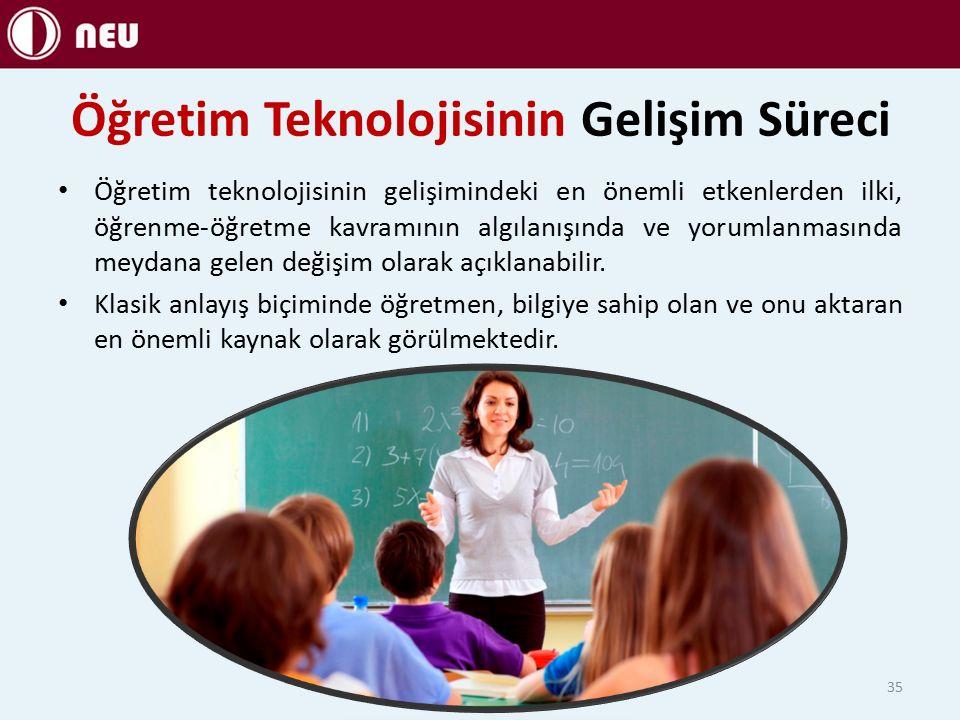 Öğretim Teknolojisinin Gelişim Süreci Öğretim teknolojisinin gelişimindeki en önemli etkenlerden ilki, öğrenme-öğretme kavramının algılanışında ve yorumlanmasında meydana gelen değişim olarak açıklanabilir.