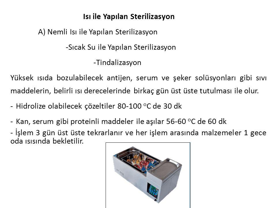 Isı ile Yapılan Sterilizasyon A) Nemli Isı ile Yapılan Sterilizasyon -Sıcak Su ile Yapılan Sterilizasyon -Tindalizasyon Yüksek ısıda bozulabilecek ant
