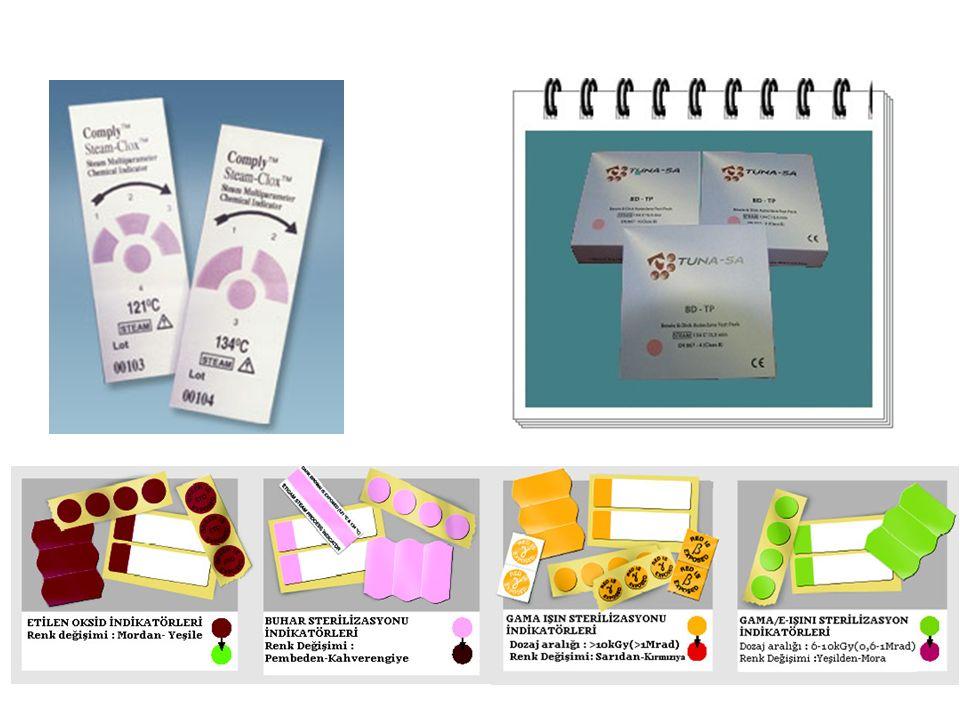 Biyolojik indikatörler: Biyolojik indikatörler, sterilizasyon işleminde amaçlanan biyolojik ölümün gerçekleşip gerçekleşmediğini göstermesi bakımından önemlidir.