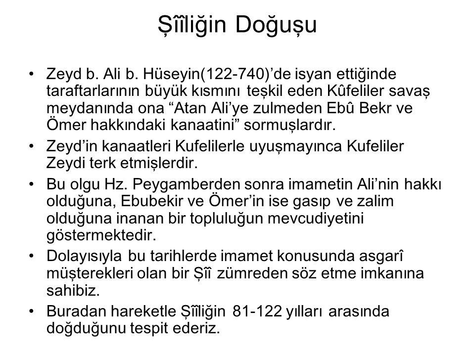 """Şîîliğin Doğuşu Zeyd b. Ali b. Hüseyin(122-740)'de isyan ettiğinde taraftarlarının büyük kısmını teşkil eden Kûfeliler savaş meydanında ona """"Atan Ali'"""