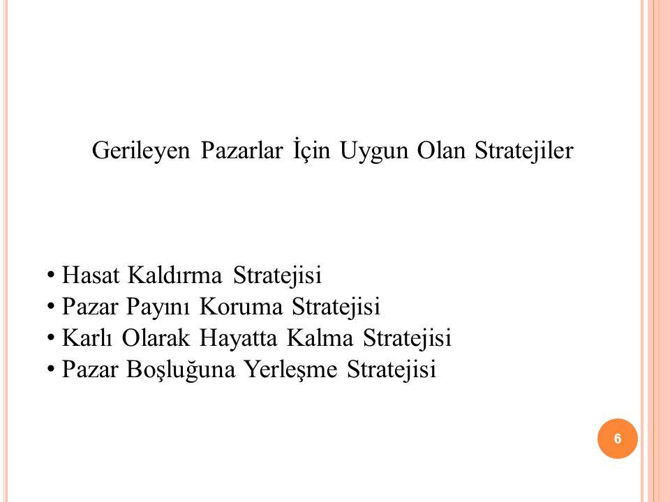 Gerileyen Pazarlar İçin Uygun Olan Stratejiler Hasat Kaldırma Stratejisi Pazar Payını Koruma Stratejisi Karlı Olarak Hayatta Kalma Stratejisi Pazar Bo